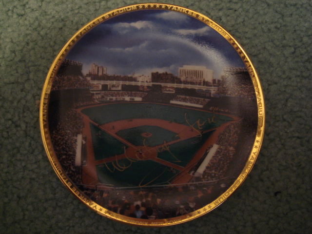 Whitey Ford Yankee Stadium Autographed 1989 Sports Impressions Mini Plate By Robert Stephen Simon With COA