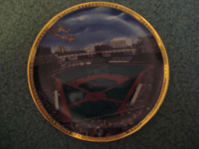Paul Lindblad Yankee Stadium Autographed 1989 Sports Impressions Mini Plate By Robert Stephen Simon With COA