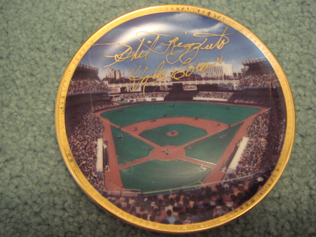 Phil Rizzuto Yankee Stadium Autographed 1989 Sports Impressions Mini Plate By Robert Stephen Simon With COA 