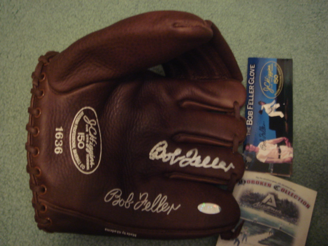 Bob Feller Autographed JC Higgins Baseball Glove Model 150 with Steiner COA