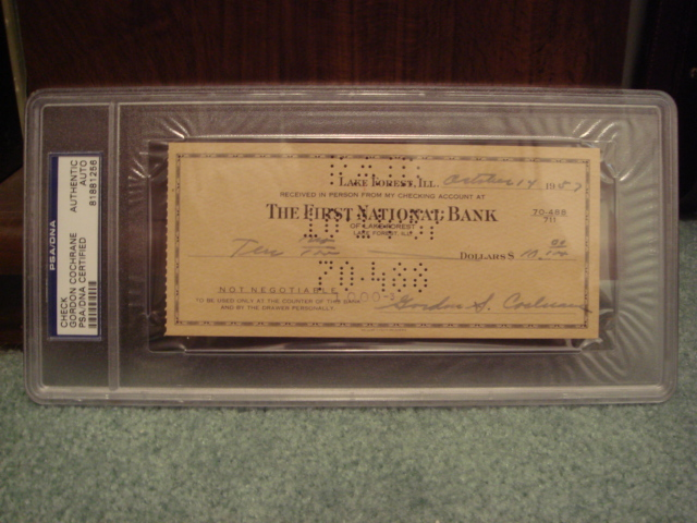 Mickey Gordon Cochrane Check PSA/DNA Certified Authentic Slabed