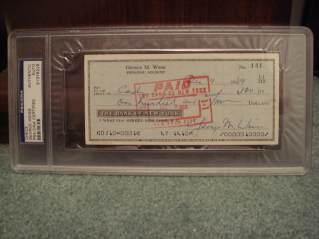 George M. Weiss Check signed twice PSA/DNA Certified Authentic Slabed