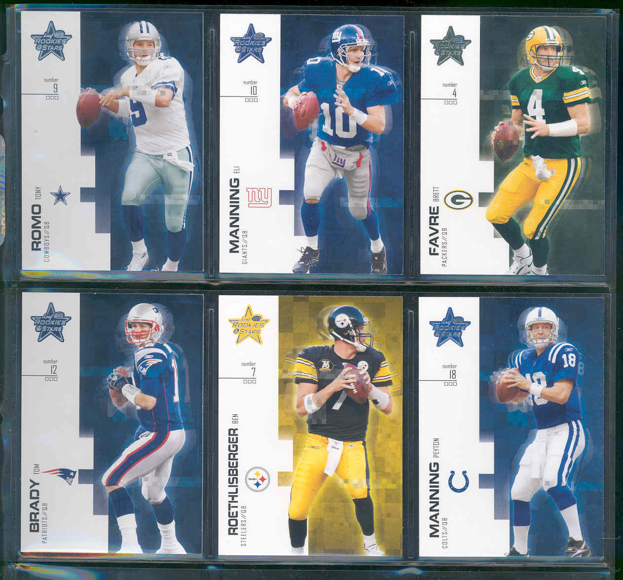 2007 Leaf rookies and stars complete set 1-100 w/ Tony Romo Eli Manning , Peyton Manning , Brett Favre , Ben Rothlisberger , Tom Brady and many others loaded with stars