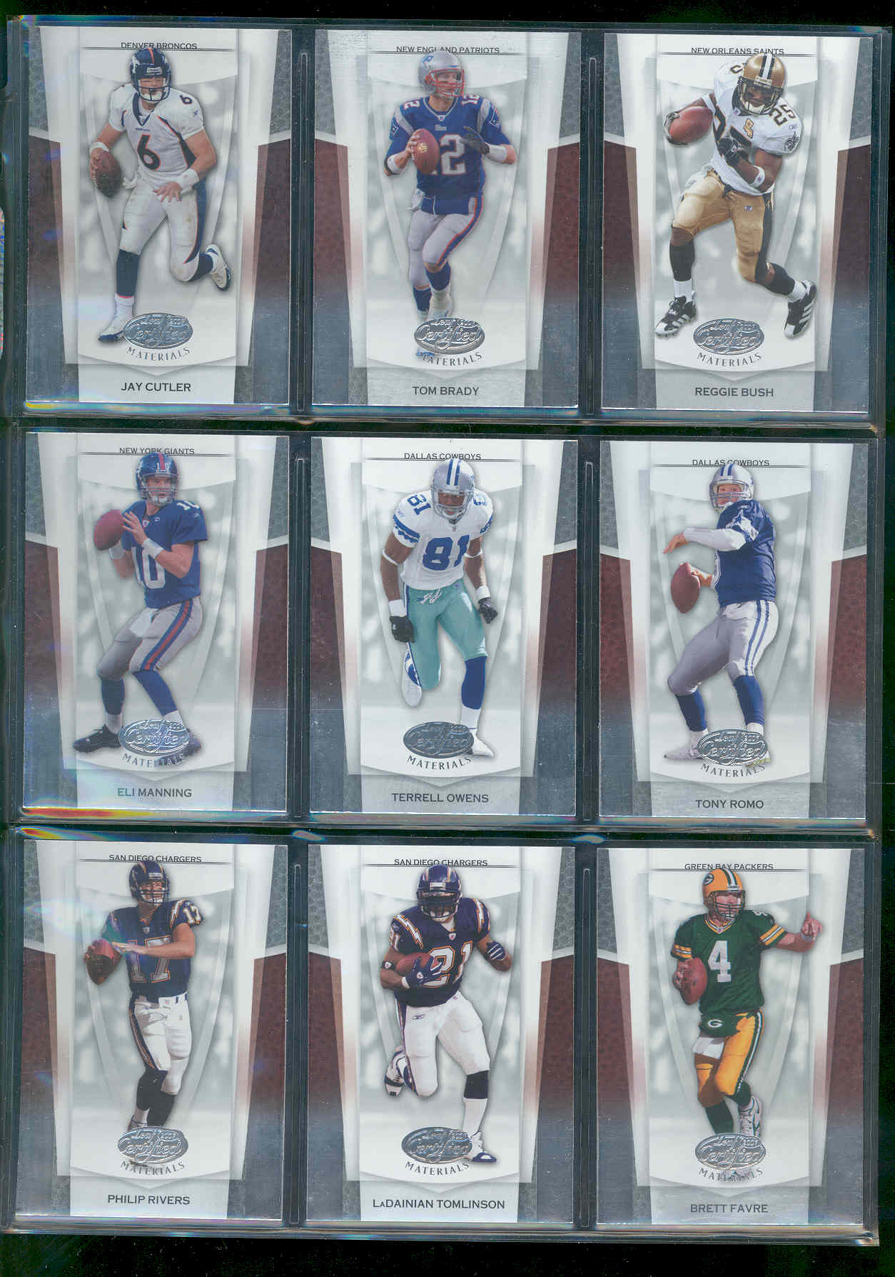2007 Leaf Certified Materials Set 1-150 w/ Jay Cutler , Tom Brady , Reggie Bush , Eli Manning , Terrell Owens , Tony Romo , Philip Rivers , LaDainian Tomlinson , Brett Favre Low Shipping