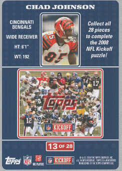 2008 Topps Kickoff Puzzle #13 Chad Johnson