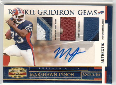 2007 Donruss Gridiron Gear Rookie Jerseys Trios Prime Autographs #201 Marshawn Lynch