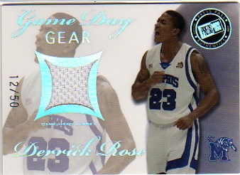 2008 Press Pass Game Day Gear Jerseys Holofoil #GDGDR Derrick Rose