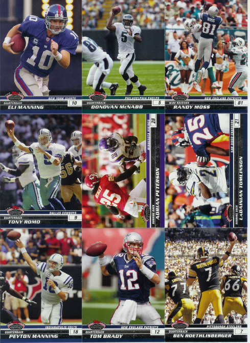 2008 Topps Stadium Club Football Complete Base Set (1-100) ((Incls stars such as Adrian Peterson, Tomlinson, Romo, Favre, Manning, Brady, Bush, Roethlisberger & more)