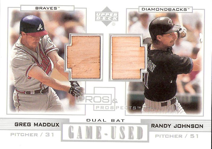 2001 Upper Deck Pros and Prospects Game-Used Dual Bat #PPMJ Greg Maddux/Randy Johnson