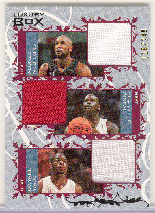 2006-07 Topps Luxury Box Courtside Relics Triple #MOW Alonzo Mourning/Shaquille O'Neal/Dwyane Wade