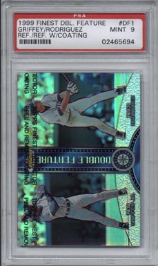 1997 Topps Finest Baseball #DF1 Ken Griffey Jr / Alex Rodriguez Refractor w/coating Mint PSA 9 NICE!