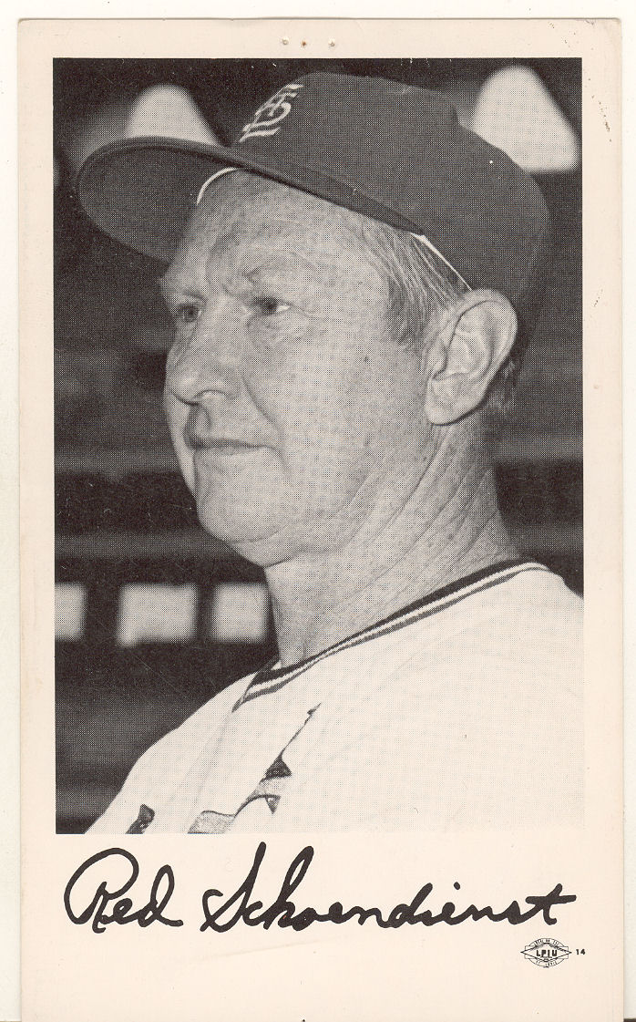 1970 Cardinals Team Issue #24 Red Schoendienst