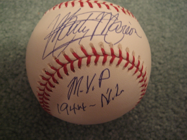 Marty Marion Autographed Official MLB Baseball With COA with M.V.P. 1944 N.L.