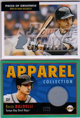2007 Bowman Heritage Pieces of Greatness #RB Rocco Baldelli Jsy F