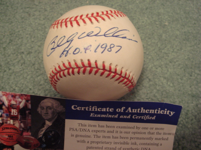 Billy Williams Autographed Official N.L. Baseball With PSA COA with HOF 1987 ins.