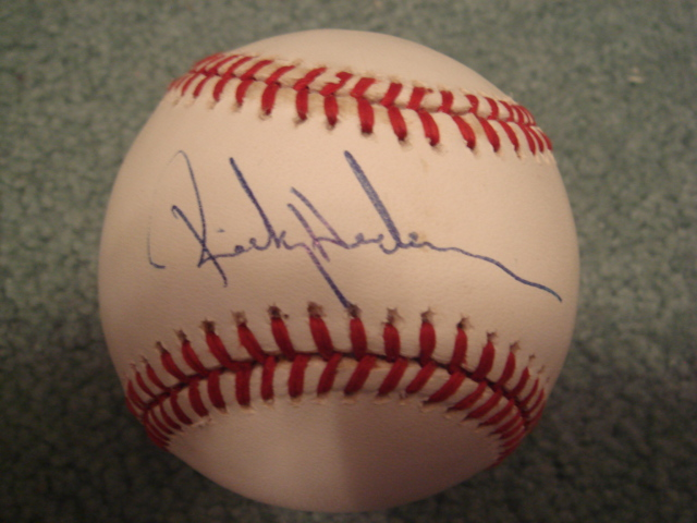 Rickey Henderson Autographed Official A.L.Bobby Brown Baseball With PSA COA