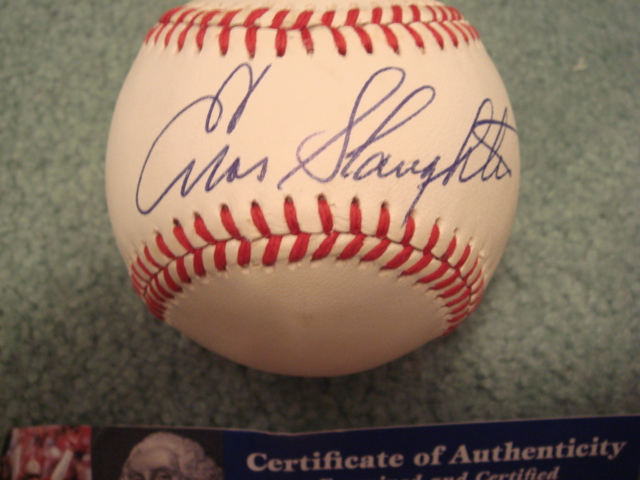 Enos Slaughter Autographed Official N.L. Baseball With PSA COA