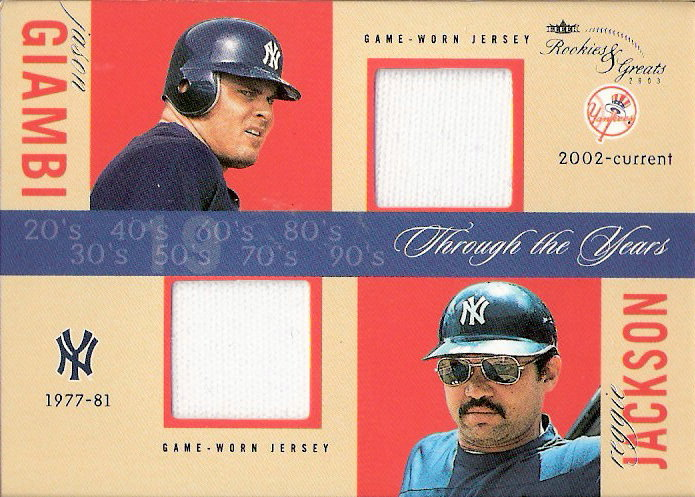 2003 Fleer Rookies and Greats Through the Years Game Used Dual #JGRJ Jason Giambi Jsy/Reggie Jackson Jsy