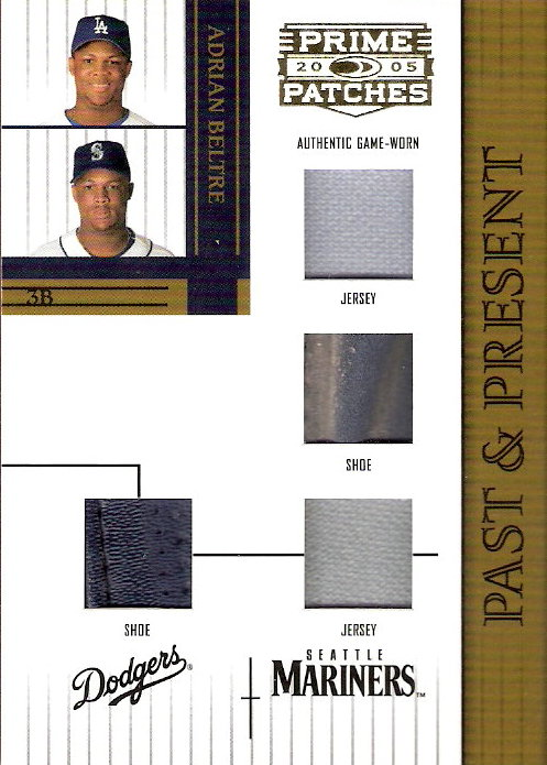 2005 Prime Patches Past and Present Double Swatch Combo #8 A.Beltre J-J-SH-SH/150