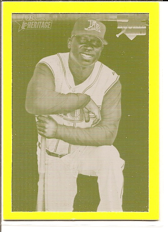 2007 Bowman Heritage Printing Plates Yellow #249 Delmon Young