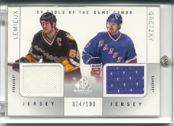 2000-01 SP Game Used Tools of the Game Combos #CLG Mario Lemieux/Wayne Gretzky