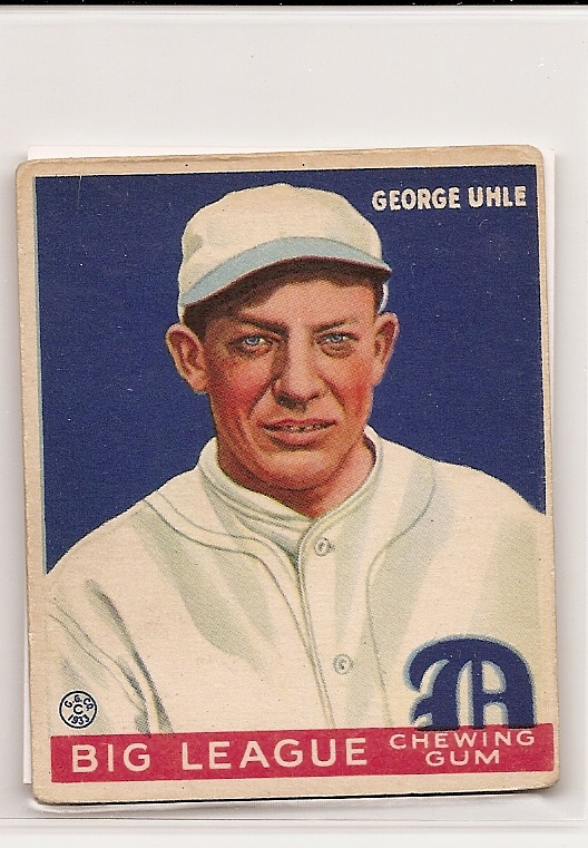 1933 Goudey #100 George Uhle RC