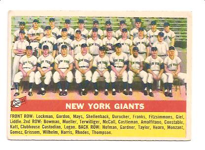 1956 Topps #226 New York Giants TC