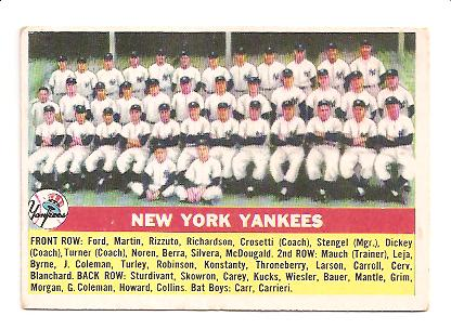 1956 Topps #251 Yankees Team Card EX Actual scan