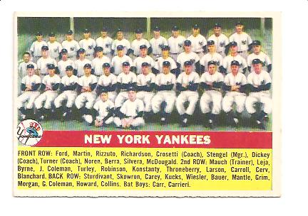 1956 Topps #251 Yankees TC EXMT Actual scan