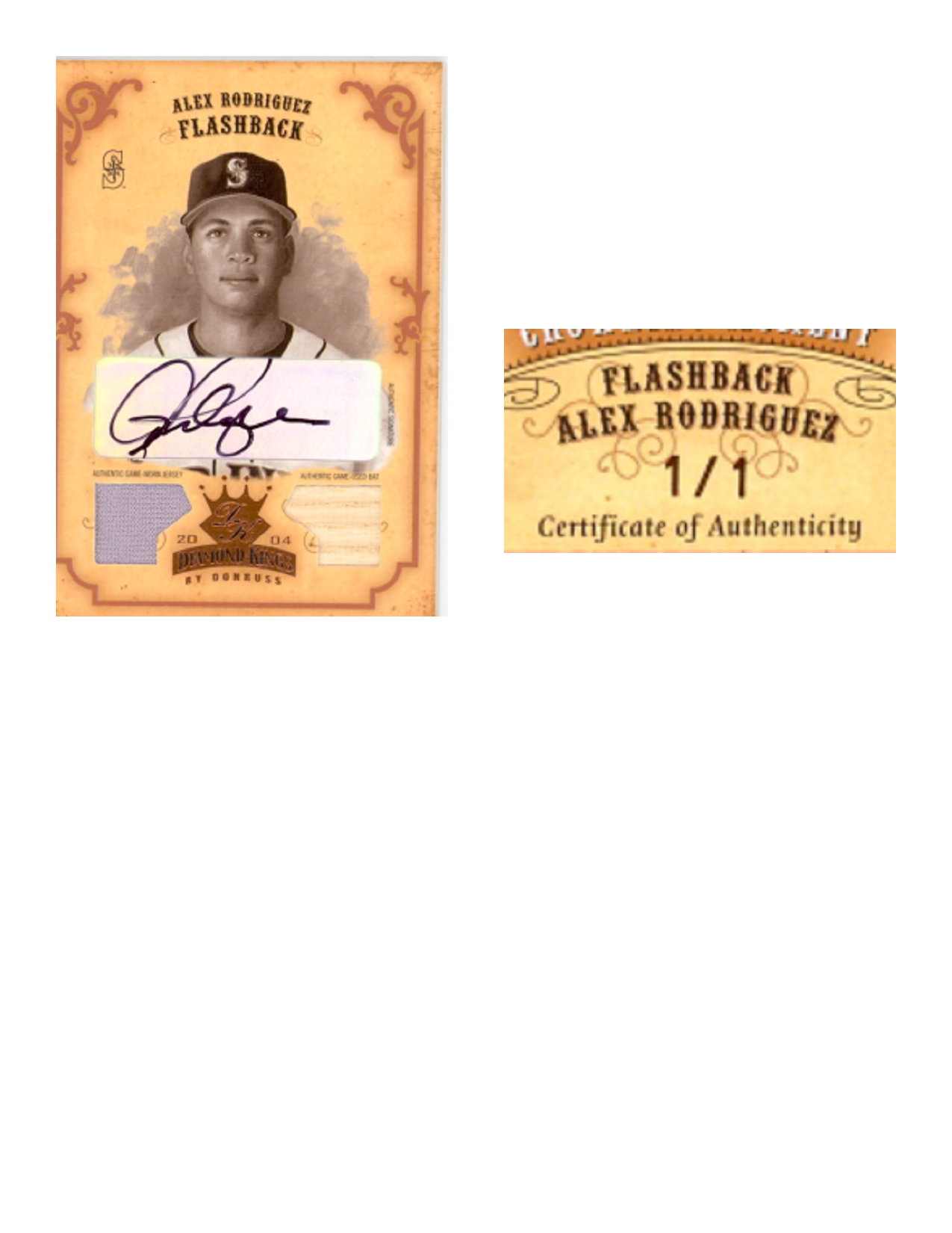 2004 Diamond Kings DK Combos Bronze Sepia #154 Alex Rodriguez FB Bat-Jsy/1