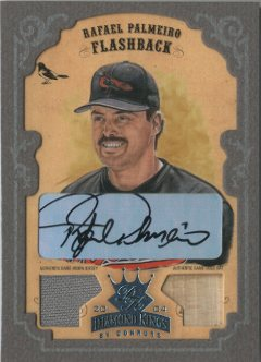 2004 Diamond Kings DK Combos Framed Platinum Grey #155 Rafael Palmeiro FB Bat-Jsy