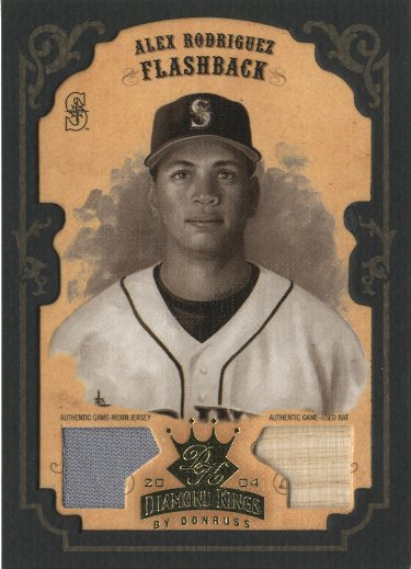 2004 Diamond Kings DK Materials Framed Gold Sepia #154 A.Rodriguez FB Bat-Jsy/5