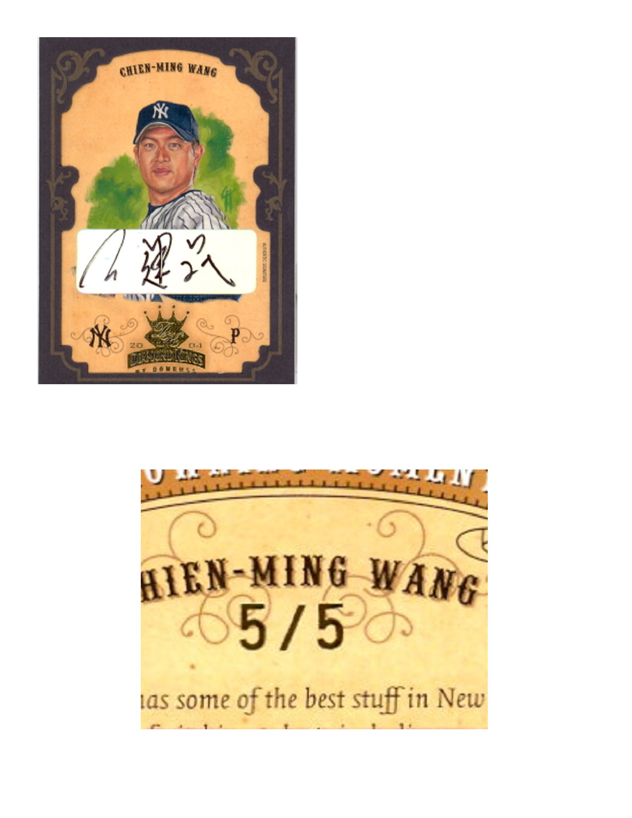 2004 Diamond Kings DK Signatures Framed Gold #137 Chien-Ming Wang/5