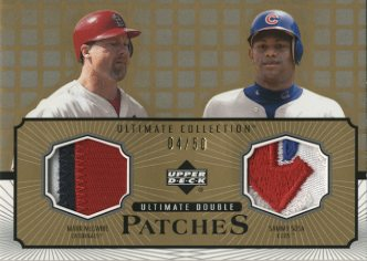 2002 Ultimate Collection Patch Card Double Gold #MS Mark McGwire/Sammy Sosa