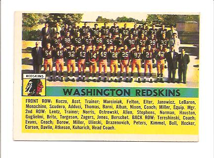1956 Topps #61 Wash.Redskins SP