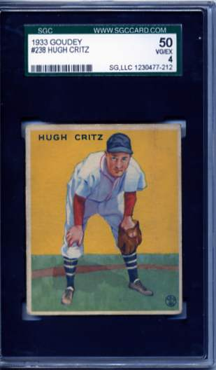 1933 Goudey #238 Hugh Critz FIELD RC
