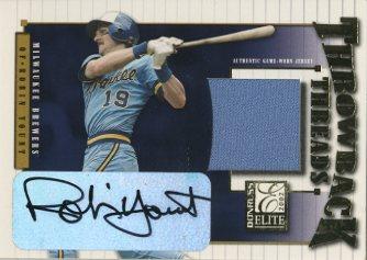 2002 Donruss Elite Throwback Threads Autographs #30 Robin Yount/10