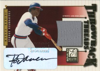 2002 Donruss Elite Throwback Threads Autographs #49 Rod Carew Angels/10