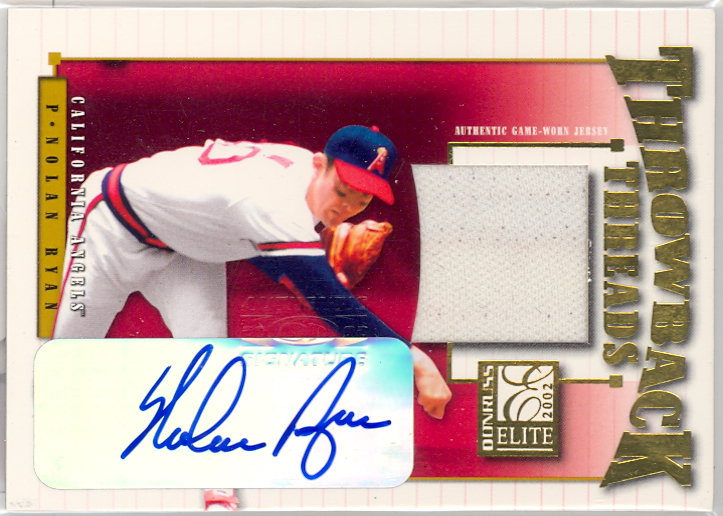 2002 Donruss Elite Throwback Threads Autographs #62 Nolan Ryan Angels/10