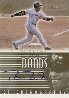 2002 SP Authentic Chirography Gold #BB Barry Bonds/25