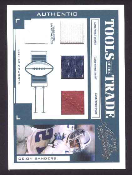 2004 Absolute Memorabilia Tools of the Trade Material Quads #TT97 Deion Sanders J-J-S-G