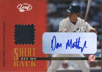 2004 Leaf Shirt Off My Back Jersey Number Patch Autographs #5 Don Mattingly