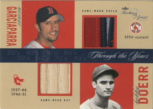 2003 Fleer Rookies and Greats Through the Years Game Used Dual Patch #NGBD Nomar Garciaparra/Bobby Doerr