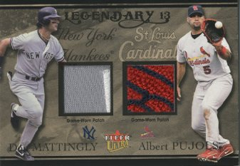 2004 Ultra Legendary 13 Dual Game Used Gold #DMAP Don Mattingly Patch/Albert Pujols Patch