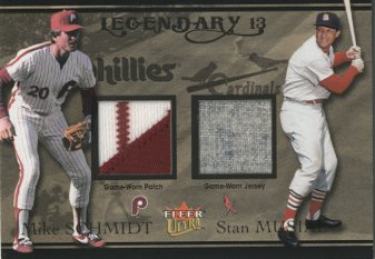 2004 Ultra Legendary 13 Dual Game Used Gold #MSSM Mike Schmidt Patch/Stan Musial Jsy
