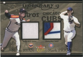 2004 Ultra Legendary 13 Dual Game Used Gold #NRMP Nolan Ryan Patch/Mark Prior Patch