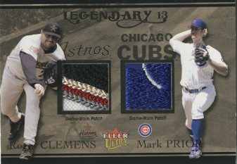 2004 Ultra Legendary 13 Dual Game Used Gold #RCMP Roger Clemens Patch/Mark Prior Patch