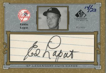 2001 SP Legendary Cuts Autographs #CEL Eddie Lopat/22