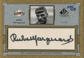 2001 SP Legendary Cuts Autographs #CRUM Rube Marquard/23