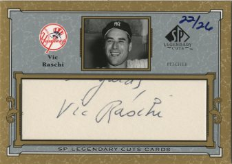 2001 SP Legendary Cuts Autographs #CVR Vic Raschi/26